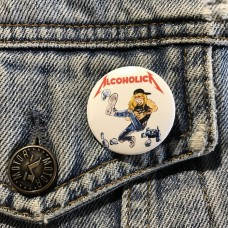 ALCOHOLICA button 32mm 1.25inch