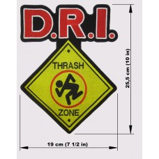 D.R.I. back patch embroidered logo dri thrash zone