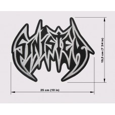 SINISTER back patch embroidered logo